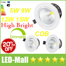 "Crazy 20% OFF-3.5"" 4.5"" CREE 5W 9W 12W 15W Dimmable COB LED Downlights Fixture Recessed Ceiling Down Lights Lamps + Power Supply"