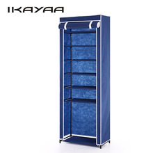 iKayaa US UK FR Stock Shoe Racks Organizer 7 Tier Fabric Shoes Rack Cabinet Zip Up 10 Pair Boots Shoes Storage Organizer
