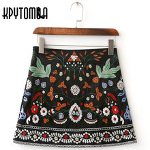 Buy Vintage Floral Embroidery Mini Skirt Women 2017 New Fashion Europe Style High Waist A-Line Short Skirt Casual Faldas Mujer for $17.49 in AliExpress store