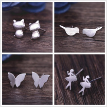 H18 Fashion Jewelry Silver Gold Color Stud Earrings Cute Love Heart Star Butterfly Brid Leaf Stud Earrings For Women Wholesale(China)