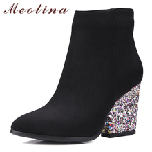 Designer Women Boots Shoes Women High Heels Ankle Boots Zipper Pointed Toe Glitter Martin Boots Ladies Shoes Large Size 9 10 43(China)