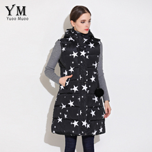 YuooMuoo 2017 Long Vest Women Star Printed Casual  Vest Women Sleeveless Jacket Cotton Padded Down Vest coletes