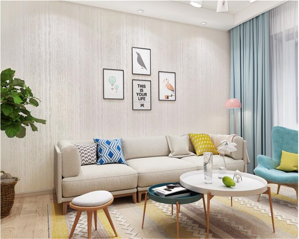 beibehang Simple and solid color pressure relief striped nonwoven 3d wallpaper bedroom living room TV background wall paper <br>