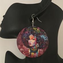 5 пар/лот печати афроамериканец Женщина деревянный Серьги(China)