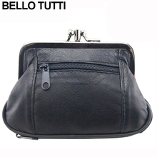 BELLO TUTTI Genuine Leather Hasp Coin Wallet Women's Mini Change Purse With Zipper Female Small Clutch Bag Girls Money Bag Gift(China)