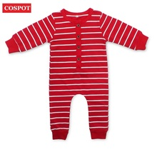 COSPOT Baby Newborn Christmas Romper Baby Girls Boys Red Striped Jumpsuit Infant X'mas Autumn Pajamas Toddler Kids Jumper 33D