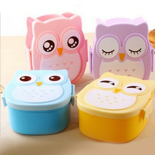4 Colors Cartoon Owl Plastic Lunch boxs Bento Lunch Boxs Food Fruit Storage Container Microwave Cutlery Set Children Gift