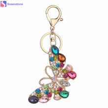 Rhinestone butterfly Keychain Fashion Accessories Charm Bag Pendant Key Chain Ring Holder Creative Jewelry Gift #40(China)