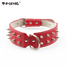 T-MENG Brand Pet products Cool Sharp Spiked Studded Leather Dog Collars For Medium Large Dogs Breeds Pitbull Mastiff Boxer Bully(China)