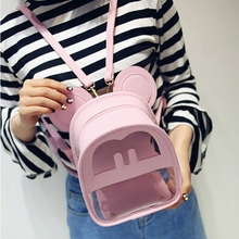 Fashion student college pink transparent pu small backpack sac a dos mochila daypack unisex  minnie style mickey mouse backpack