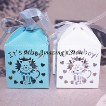 50pcs Laser Cut  It's a Boy Paper Candy Boxes for Gift Chocolate Sweet 1st Birthday Party Baby Shower Decoration favors