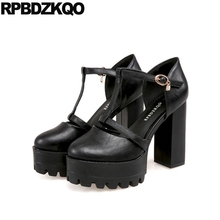 Buy Sandals Round Toe T Strap Platform Shoes Big Size Women 11 43 High Heels Fetish Thick Black Gothic Ultra Punk Pumps 10 42 Bar