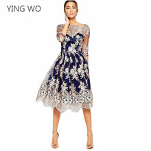 Vintage Style High Quality Ball Gown Dress Sexy See Through Insert Mesh Embroidery Lacy Midi Dresses for Woman Night Party Wear