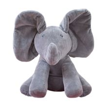 30CM Plush ANIMATED FLAPPY the ELEPHANT plush toy PEEK A BOO SINGING baby music toy Ears Flap And Move funny toys