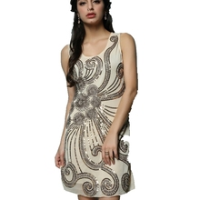 Retro Sequined Women 1920s Gatsby Flapper Sequin Sleeveless Mini Party Dress Vintage Ladies Party Slim Tank Dress With Paillette