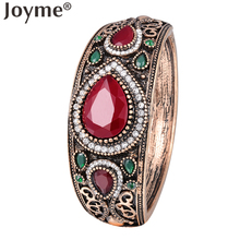 Famous Brand Indian Cuff Bracelets Bangles Womens Gold-Color Bohemian Resin Love Bracelet Femme Wedding Vintage Jewelry bijoux(China)
