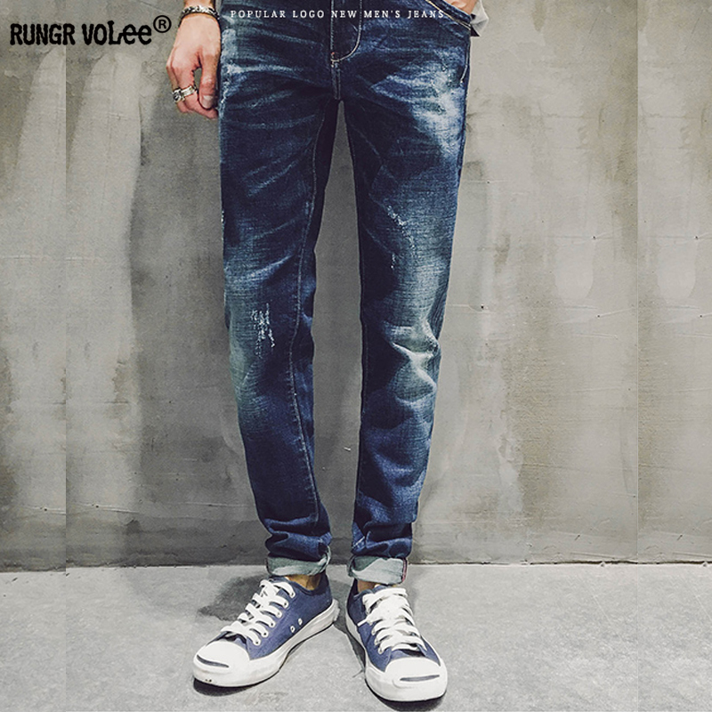 RUNGR VOLEE 100% Cotton Spring Summer Men Jeans Slight Classic Denim Pants Male Washed Baggy Blue Designer Causal Jeans Man yout