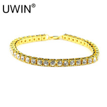 UWIN Hip hop Men Bracelet Silver/Gold Color Iced Out 1 Row Rhinestones Bracelet Chain Bling Clear Crystal Bracelet Women 20cm