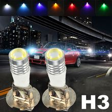 12V DC H3 11W COB LED Projector Driving DRL Fog Lights Car Headlight Lamp Bulb White Green Yellow Pink Red Blue Ice Blue