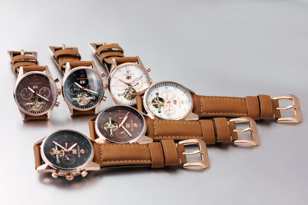Women Automatic Mechanical Watches FORSINING Tourbillon Leather Watch Strap Luminous Hands Gift for lady relojes mujer 2017<br>