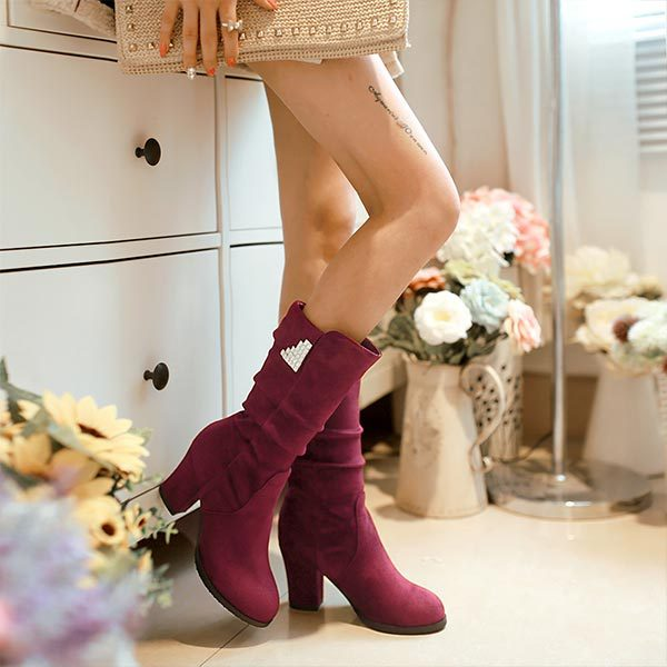 Fashion Mid Calf Boots High Heels Black,Red,Blue Women Shoes Winter Autumn In tube Boots Platform   Flock Medium canister boots<br><br>Aliexpress