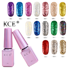 KCE Nail Gel Polish UV&LED Super Shining Diamond Glitter 15 Colors 6ML Long Lasting Soak Off Varnish Cheap Manicure Nail Polish