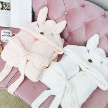 Autumn Winter Cute Sleepwear Fluffy with Ears Hooded Robe Female Negligee Women Long Sleeved Soft Pajamas Nightgown Bathrobe(China)