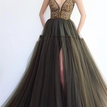 Olive Green Tulle Beaded Crystal V-Neck Prom Dresses with Straps High Split  Long Puffy 8eec62e774c6
