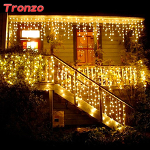 Tronzo DIY Tree LED Light Ornament 4m Multicolor Icicle Curtain Party Wedding Decoration Lights For Home 2017 EU Plug(China)