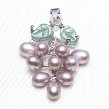 Freshwater Pearl Pendants Green Aventurine Natural Real White Pink Purple Black Pearl Grape Drop Pendant DIY for Necklace Gifts(China)
