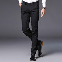 fb9657d3f169 Earoomze 2018 Men s Spring Summer Skinny Pencil Pants Casual Slim Fit  Stretch Pants Black Male Work Dress Business Trousers