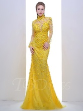 New Design Mermaid High Neck Long Sleeves Crystal Sweep Train Yellow Evening Dress See Through Flower Formal Dress Evening Gown