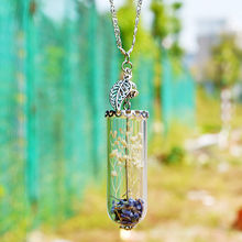 KUNIU Hot New Handmade Lavender Wish Pendant Leaf Cristal Glass Bottle Necklace Birthday unique design Gift High Quality