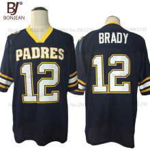 2017 New Cheap American Football Jersey Tom Brady 12 Junipero Serra Padres High School Jersey Throwback Blue Stitched Mens Shirt