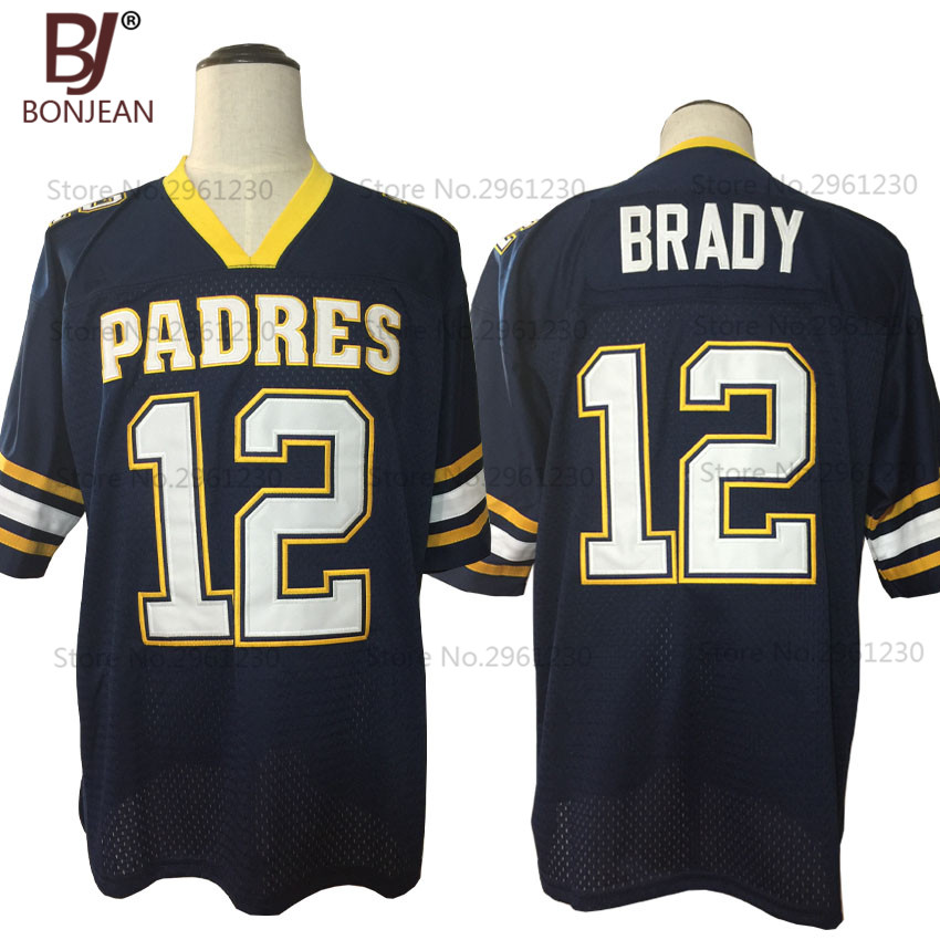 2017 New Cheap American Football Jersey Tom Brady 12 Junipero Serra Padres High School Jersey Throwback Blue Stitched Mens Shirt(China)