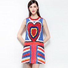 2018 Hot Fashion Colorful 3D Flowers Print Women Dress High Quality Pretty Sleeveless Above Knee Mini Straight Dress(China)