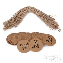 "10""Thank you"" Gift Tags Paper Wedding Cards Brown Round 4cm DIY Party Decorations - Shenzhen Bluebird E-Commerce Co., Ltd. store"