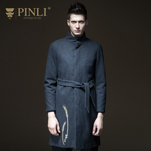 2017 Peacoat Mens Pea Coat Pinli Product Made Of Pure Color Long Wool Coat Collar Men Of Cultivate Morality B173602321 Autumn(China)