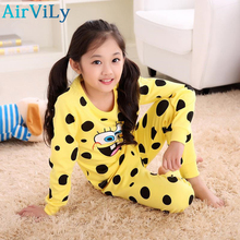 Kids Cotton Underwear Suit Sponge Bob Girl Sleepwear Trousers Cartoon Suit Children Spring Autumn Clothes Robe Boys Pajama Sets(China)
