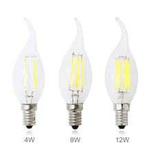 Dimmable Lamp 220V 3W 4W 8W 12W LED Filament Chip E14 Edison Candle Light Bulb Retro Tungsten Chandelier Lighting