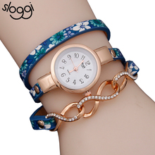 Ethnic Style Women Bracelet Watch Flower Printing Leather Band Wristwatch Ladies Alloy Twisting Vintage Cheap Watches relojes