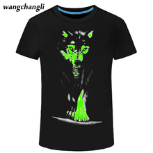 2017 Summer 3D Wolf Men's T-shirt Leisure Luminous Fluorescent Short Sleeve flash t shirt 3d animal wolf print Clothing Lazer