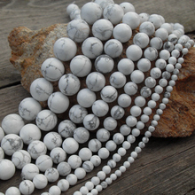 Wholesale Natural Howlite White Stone Beads For Jewelry Making DIY Bracelet Necklace 4/ 6/ 8/10/ 12 mm Strand 15.5''(China)