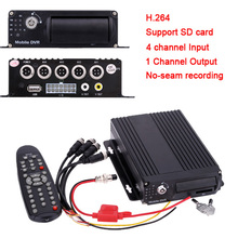 Mini CCTV 4CH Realtime SD Card Mobile Bus Car Vehicle DVR Recorder System(China)