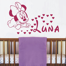 Cute Minnie Mouse With Custom Personalized Baby Name Vinyl Wall Sticker For Baby Kids Bedroom Sweet Decor Art Murals A682(China)