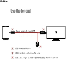 Kebidu Micro USB to HDMI Adapter Video HDMI Cable For Samsung Galaxy s2 i9100 i9220 S2 N7000 for HTC one for SONY(China)