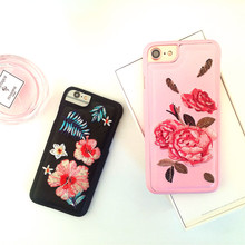 new!Embroidered peony flowers phone cases for iphone 7 cute iphone 6s coque 3d handfeeling pink back cover PC mobile phone strap