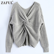 ZAFUL 2017 New 4 colors V Neck Twisted Back Sweater Women Jumpers Pullovers Long Sleeve Knitted Sweaters pull femme Plus Size
