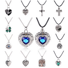 Shellhard Crystal Heart Long Memorial Necklace Vintage Urn Cremation Pendant Ash Holder Mini Keepsake Choker Necklaces Jewerly(China)