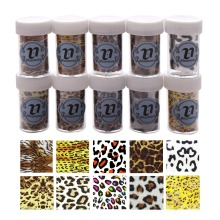 Nail Art Transfer Foil Sticker New Arrival 2017 Blueness Leopard 10 pcs Tiger Zebra Mix Color Wholesale